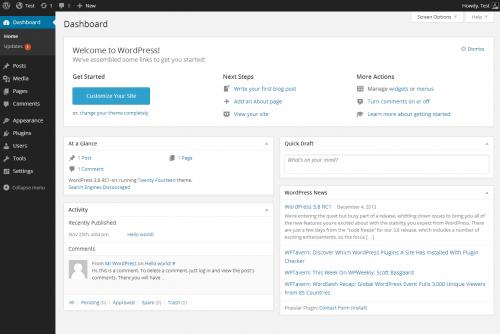 Layout of WordPress dashboard